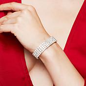 Mujer Brazalete Tenis pulseras Cristal Joyería de Lujo Elegant joyería de disfraz Moda Nupcial Brillante Plateado Diamante Sintético