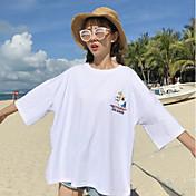 Mujer Simple Casual/Diario Camiseta,Escote Redondo Estampado Letra Manga Corta Algodón