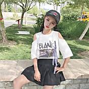 Mujer Chic de Calle Noche Camiseta,Escote Redondo Letra Media Manga Algodón Otro