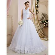 Salón Halter Larga Encaje Tul Vestido de novia con Lentejuela Apliques Detalles de Cristal por LAN TING BRIDE®