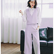 Mujer Simple Casual/Diario Primavera Otoño T-Shirt Pantalón Trajes,Escote en Pico Un Color Manga Tres Cuartos