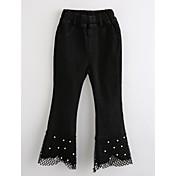 Pantalones Chica Bordado Algodón Otoño