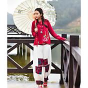 Mujer chinoiserie Tiro Alto Microelástico Perneras anchas Pantalones,Corte Ancho Un Color