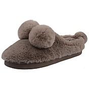 Hombre Zapatos Terciopelo Invierno Confort Forro de piel Forro de pelusa Zapatillas y flip-flops Pompón Para Casual Negro Marrón Claro