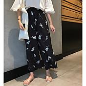 Mujer Cosecha Tiro Alto Microelástico Chinos Pantalones,Perneras anchas Estampado