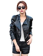 Vrouwen Street chic Herfst / Winter Leren jacks,Casual/Dagelijks Effen Opstaand Lange mouw Zwart PU Medium