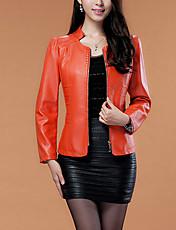 Giacche di pelle Moda città Autunno,Tinta unita Colletto alla coreana PU (Poliuretano) Nero / Arancione Manica lunga Medio spessore
