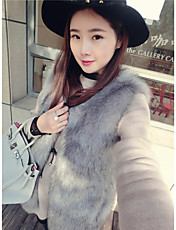 Women's Formal SexySolid Sleeveless Fall / Winter White / Black / Gray Faux Fur