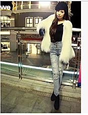 Dames Street chic Winter Bontjas,Casual/Dagelijks Ronde hals-Lange mouw Wit / Zwart / Grijs Effen Dik Imitatiebont
