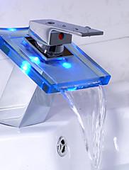 現代風 センターセット LED 滝状吐水タイプ with  セラミックバルブ シングルハンドルつの穴 for  クロム , バスルームのシンクの蛇口