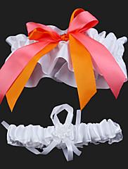 ウエデイング/パーティー ガーターリング 2個セット ホワイトとオレンジ(0273-19)