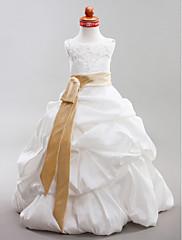 夜会服のスコップの床長さのタフタフラワーガールのドレス