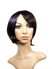 キャップレスショート高品質ブラウン人工毛かつら