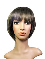 キャップレスショートブラック高品質合成自然な毛のかつら