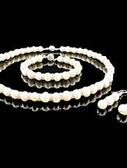 sladkovodní perla / krystal svatební svatební šperky sada včetně náhrdelník náramek a náušnice