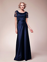 Lanting Bride® Pouzdrové Větší velikosti / Malé Šaty pro matku nevěsty Na zem Krátký rukáv Krajka / Satén - Korálky / Krajka