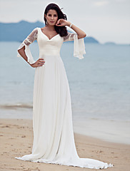 Lanting Bride® Aライン 小柄 / 大きいサイズ ウェディングドレス - クラシック/タイムレス / シック&モダン コートトレーン Vネック シフォン とともに レース