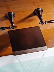 アンティーク調 壁式 滝状吐水タイプ with  セラミックバルブ 二つのハンドル三穴 for  オイルブロンズ , 浴槽用水栓