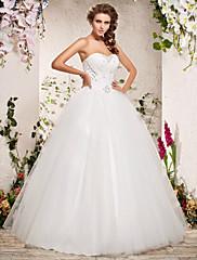 クリアランス!夜会服の恋人の床の長さのオーガンザのウェディングドレス