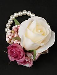 satén / bavlna s perlou free-form živůtek svatební zápěstí