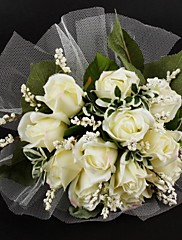 """Svatební kytice Kulatý Růže Kytice Satén Tyl 28 cm (cca 11,02"""")"""