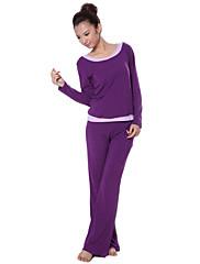 modální přátelské k pokožce jemné štíhlé dlouhé rukávy jóga oblek (fialová)