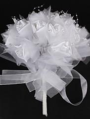 Elegantní saténový / bavlna s perlou kulatého tvaru kytice svatební