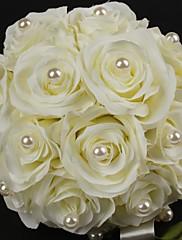 "Svatební kytice Kulatý Růže Kytice Satén Bavlna 22 cm (cca 8,66"")"