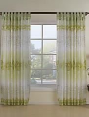 země, dva panely květinový botanický zelená jídelna polyesterové čiré záclony odstíny