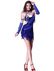 女性のためのパフォーマンスダンスウェアスパンコールのついたラテンダンスのドレス
