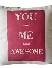 あなたと私のコットン/リネン装飾的な枕カバー