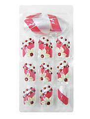 24PCSアクリルは1接着剤で花の宝石の結婚式のネイルアートのヒントローズ