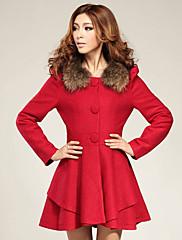 チャオ劉毛皮の襟スリムミディツイードコート(その他の色)