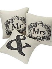 set od 3 ljubavne parove pamuka / lana dekorativni jastuk naslovnici