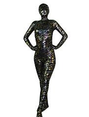 černé a stříbrné pruhy spandex celého těla Zentai