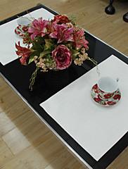 4国ジャガードソリッドポリエステル綿混紡ホワイトプレイスマットのセット