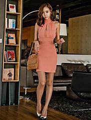 volný čas vysoký límec s hlubokým výstřihem šaty
