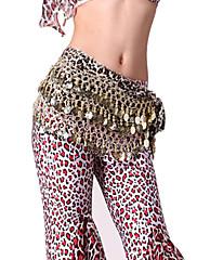 výkon dancewear samet leopard tisknout s mincemi pásem břišního tance pro ženy