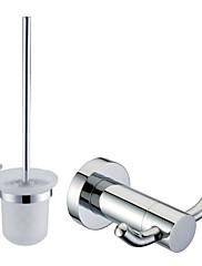 クローム仕上げのバスアクセサリーセット(ローブフック、トイレブラシホルダーを含める - 真鍮)
