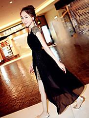 móda krátký rukáv šifon šaty (black)