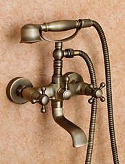 Starožitné Vana a sprcha Včetne sprchové hlavice with  Keramický ventil Dvěma uchy dva otvory for  Starožitná mosaz , Sprchová baterie /