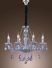 優雅なレトロシャンデリア8灯キャンドル機能ウォーターブルークリスタル