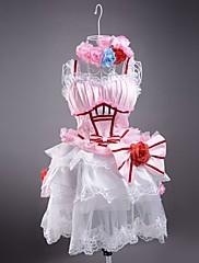 Bez rukávů Krátký růžové a bílé Satin Sladká Lolita šaty