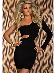 Sexy One-rameno-minišaty mit seitlichen Výřezy Black