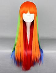 Lolita Wigs Punk Lolita Zářící barvy Dlouhé Oranžová Lolita Paruky 75 CM Cosplay Paruky Patchwork Paruka Pro Dámské