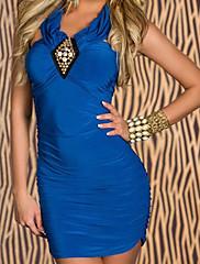 Modré šaty ruched stunner (Bust :86-102cm Pas :58-79cm Hip :90-104 cm Délka: 78 cm)