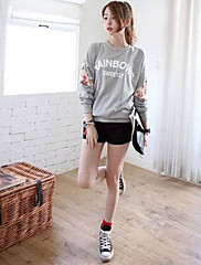 Dámský kulatý límec Floral Print Sestřih T-Shirt