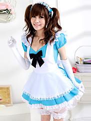 かわいい女の子の淡いブルーと白メイド制服