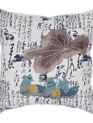 """18 """"スクエアオシドリ刺繍コットン装飾枕カバー"""