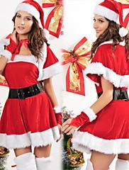 ミスサンタ赤いビロードのドレスの女性のクリスマスコスチューム